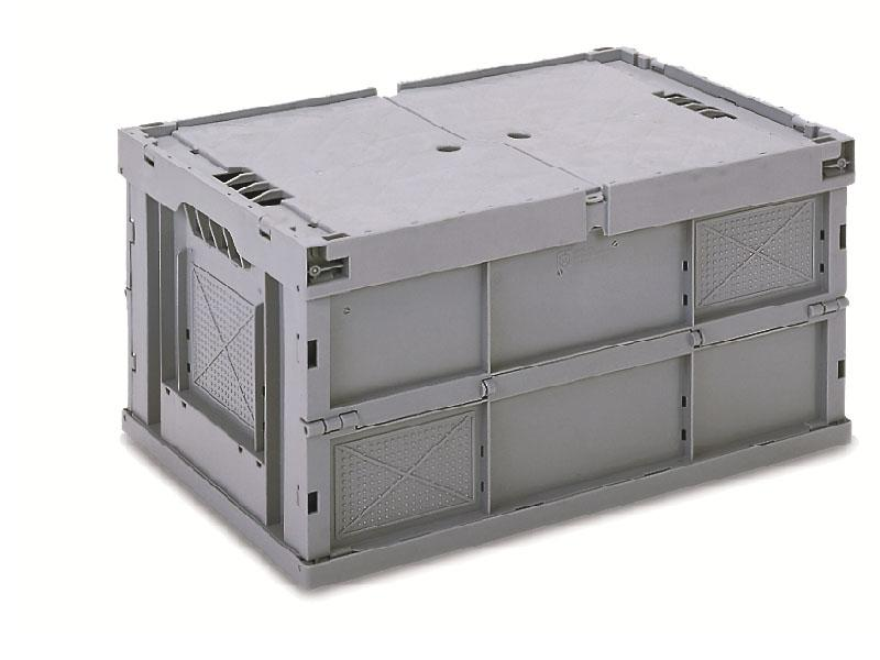faltbox 600x400 h318mm grau mit deckel fabrikneu. Black Bedroom Furniture Sets. Home Design Ideas