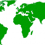 Weltkarte in grüner Farbe